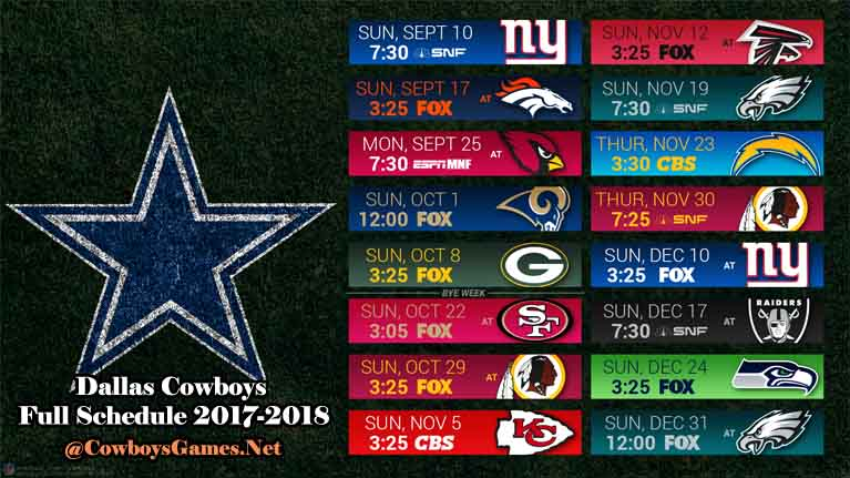 Dallas Cowboys Full TV Schedule 2017
