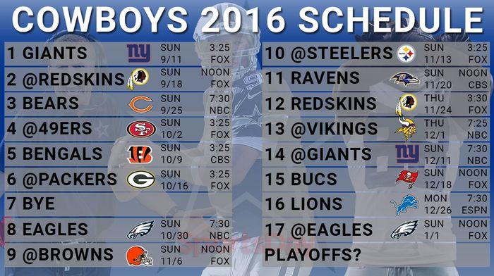 Dallas Cowboys Games Schedule 2016