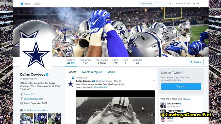 Dallas Cowboys Official Twitter Page 2017
