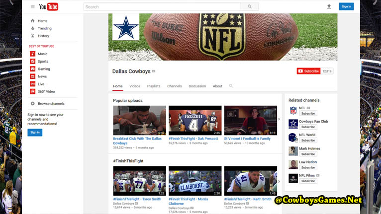 Dallas Cowboys Official You Tube Fans 2017